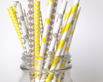 Gray Yellow Straws, yellow baby shower, gender neutral baby shower, yellow grey party, Yellow Wedding Yellow Party Decorations