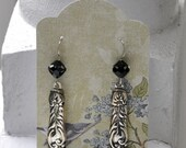 1887 Cardinal Spoon Earrings with 6mm Black Zilion Swarovski Beads