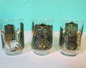 Set of Three Vintage Textured Owl Juice Glasses