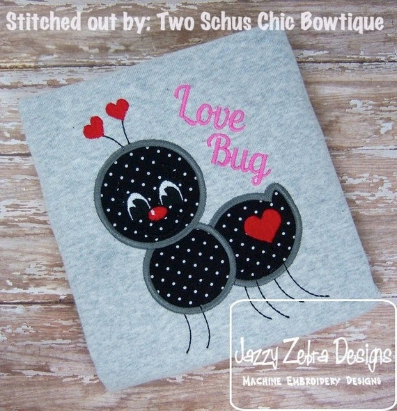 Valentine Ant Applique Embroidery Design - Valentines day appliqué design - valentine appliqué design