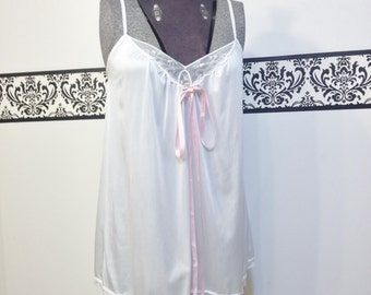 1960's Wedding White Lace Pin Up Chemise by Jennifer Dale. Size Small / Medium,  Vintage Bombshell Baby Doll Teddy, 50's Bridal Boudoir