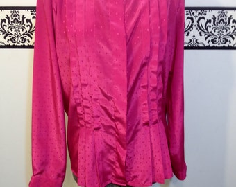 1970's Hot Candy Pink Silky Pleated Secretary Blouse by Objectives, Size 16 / XL, Vintage Pink Hipster Blouse, Polka Dot Pink Pin Up Blouse