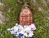 Miniature Fairy Door, Miniature Fairy Garden Kit,Small Gothic Door - Fairy Gardens, Miniature Gardens, - 2.750x1.750x.250  Hand Cast Stone