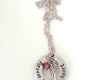 Forever in my Heart Hand Stamped Silver Washer Necklace with Birthstone