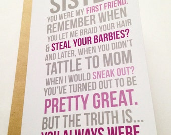 Funny Sister Card / Sister Birthday Card / Card for Friend / Little Sister Card / Younger Sister Card