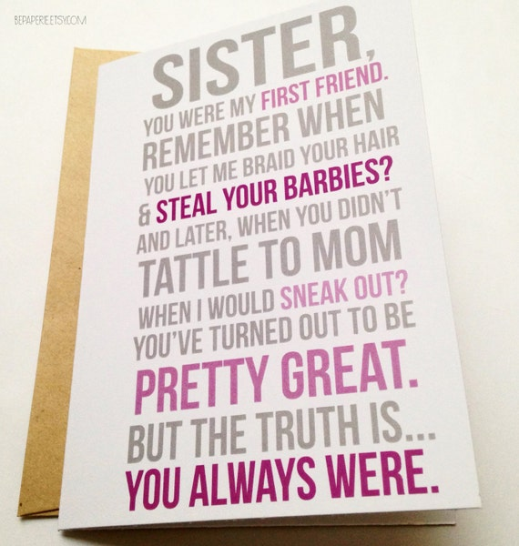 funny sister card / sister birthday card / card for friend /, Birthday card