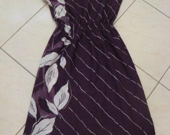Vintage 70s Purple Floral Day Dress Sz S M
