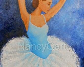 Ballerina art - Original painting - Ballet artwork - 12x16, stretched canvas painting by Nancy Quiaoit at NancyQart.