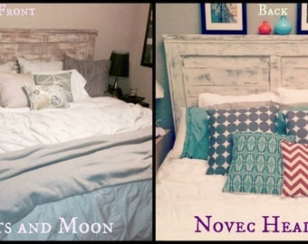 Whitewash/ Shabby Reversible Headboard! Beachy, Nautical, Salvage wood. Great for that Driftwood Look- Reversible! Pallet Bed, King, Queen
