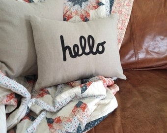 Hello Natural Linen Throw Pillow Cover 12 x 16