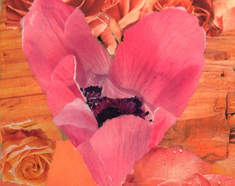 Anemone Rose. Valentine. Decorative Ceramic Art Tile Coaster. Paper Collage Design. 4.25 inches.
