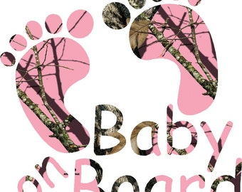 "5.75"" Pink, Orange or Regular Camo baby on board feet sticker decal for car/truck/suv/camper/motorcycle"