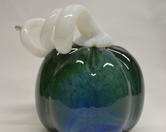 Silver Blue and White Hand Blown Glass Pumpkin