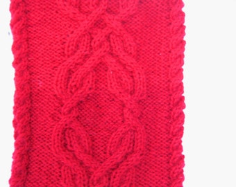 Red iPad Case Cover Sleeve , Kindle and Nook Cover , Cable knitted wool Tablet Cover , Tablet cozy with wrist strap