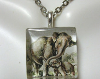 Elephant parenting in the wild pendant and chain - WGP01-014