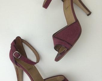 Geoffrey Beene Beenebag burgundy suede sandals sz 7 1/2 70s