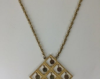 large mod gold articulated pendant necklace