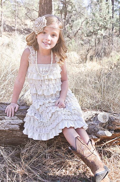 Rustic country flower girl dress lace by countrycoutureco for Country wedding flower girl dresses