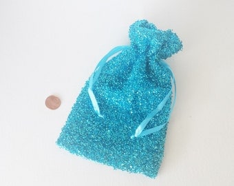 Turquoise organza bag,favor bags,necklace bag,gift idea,glitter wrapping,fancy organza bag,sparkly organza bag,wedding favor,bridesmaid gift