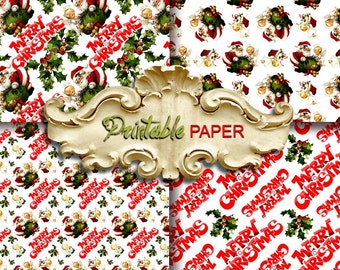 MARRY CHRISTMAS  -  4 SHEETs Printable wrapping paper for Scrapbooking, Creat - Download and Print