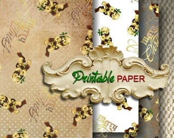 CHRISTMAS  BEARs - 3 SHEETs Printable wrapping paper for Scrapbooking, Creat - Download and Print