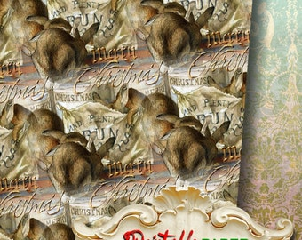CHRISTMAS RABBITs - Printable wrapping paper for Scrapbooking, Creat - Download and Print