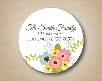 Return Address Labels Personalized Address Stickers Rustic Floral Design Flowers Round Address Label Custom Address Envelope Seals