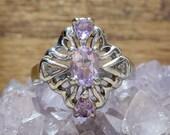 Vintage Amethysts Sterling Silver Estate Ring Size 8.5 / Vintage Art Nouveau Style Amethyst Sterling Silver Size 8-1/2 Engagement Ring