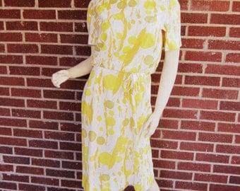 Vintage 60s Mod Mad Men Garden Party Abstract Floral Print Short Sleeve Make Mine McKettrick Dress