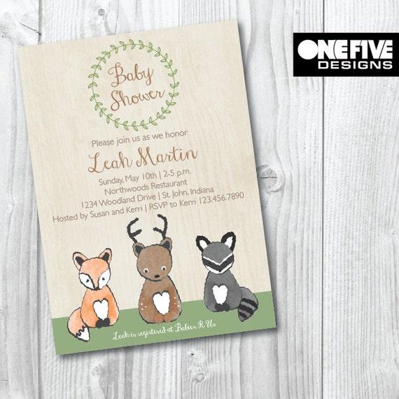 baby shower invitation woodland theme printable 5x7
