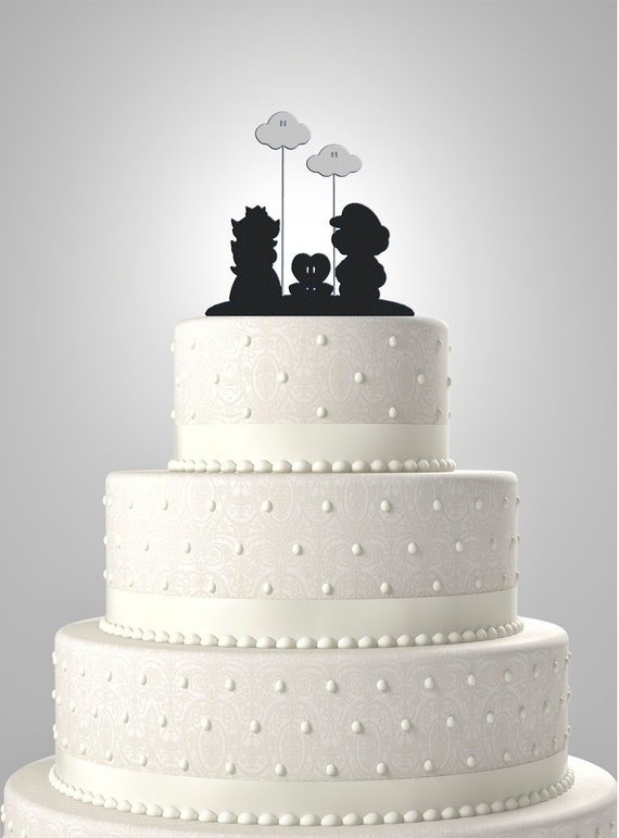 Mario And Peach Wedding Cake Topper With Clouds By Bee3DGifts