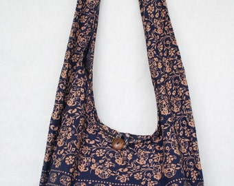 YAAMSTORE navy blue elephant hobo hippie boho bag sling shoulder crossbody  purse