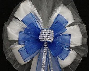 Royal Blue Bling White Sparkle Wedding Pew Bows - Church Aisle Bows