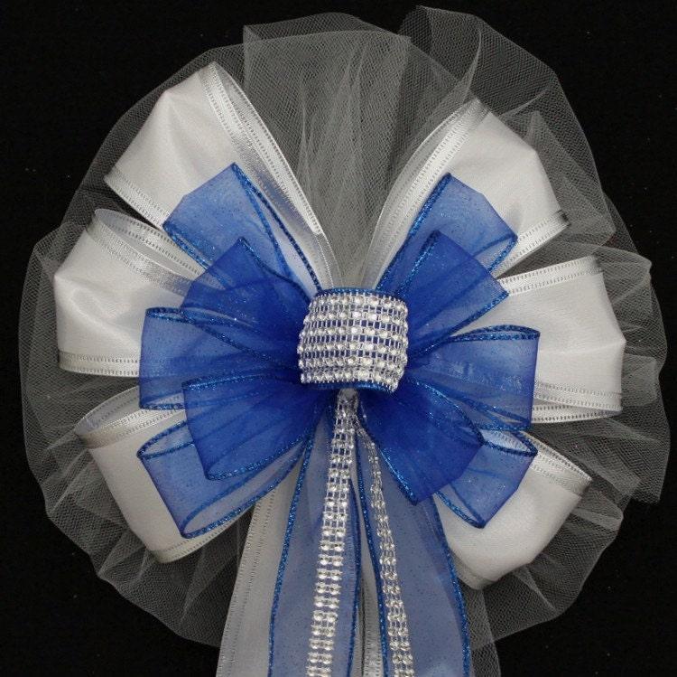 Royal Blue Bling White Sparkle Wedding Pew Bows Church Aisle