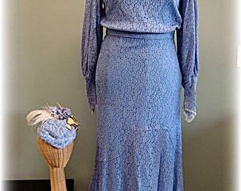 Hollywood 1930's Blue Lace Vintage Dress