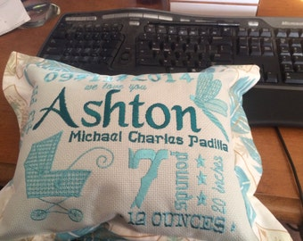 Subway Art Baby - Birth Announcement - Custom Embroidery Pillow