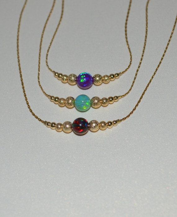 Black Opal necklace, Opal Jewelry, opal ball/bead necklace, opal gold horizontal bar necklace, simple/elegant tiny dot necklace