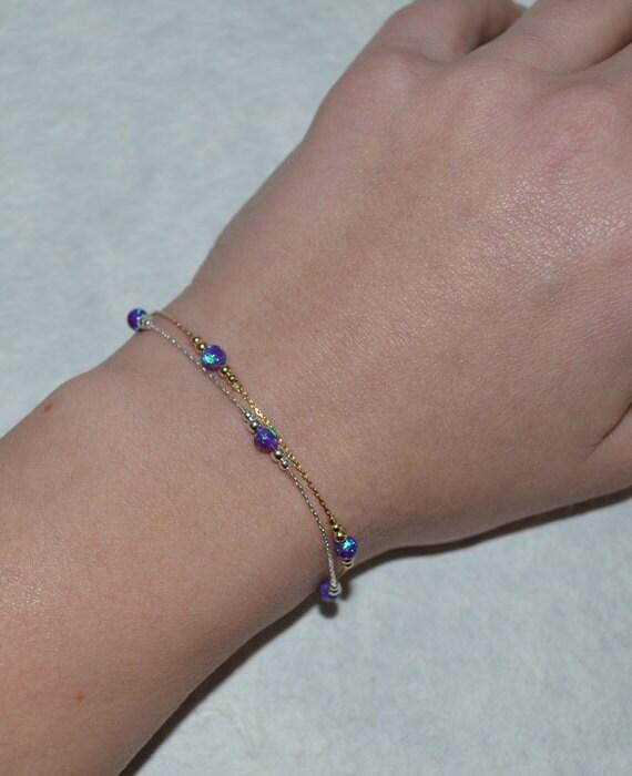 Purple Opal Bracelet, Tiny Opal Dot Bracelet, simple dainty coin/circle gold bracelet, minimalist pendant bracelet, opal jewelry