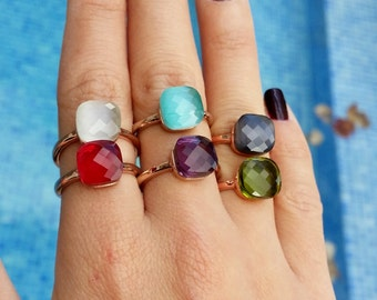 On sale %40 ! Colorful Chic and Elegant Rings. Pick your color. Facet stones! Rose Gold Vermeil 925 Silver. Moonstone,tourmaline,chalcedony,