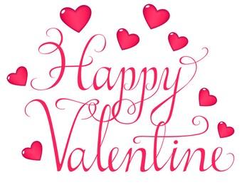 Happy Valentines Day Card Digital Download Romantic love Clipart  Swirly Script Love Message