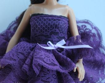 lammily doll short purple lace dress