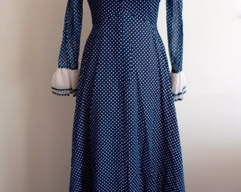 SALE Over-the-Top 70's Polka Dot Maxi Dress