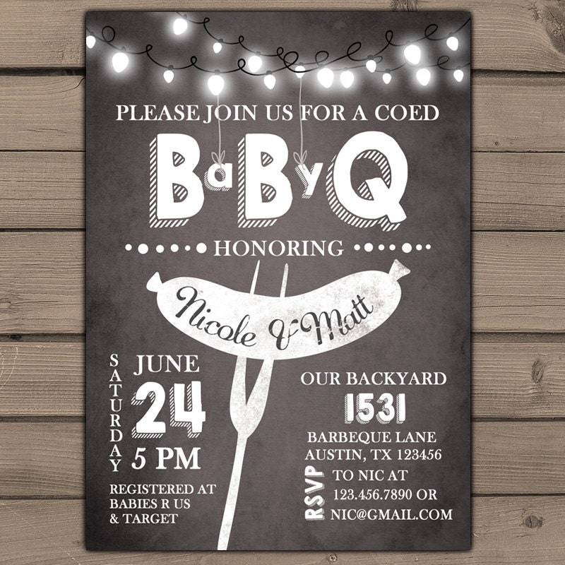 baby q invitation coed baby shower invite bbq invitation co ed
