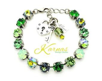 SHAMROCK SHIMMER 8mm Crystal Chaton Bracelet Made With Swarovski Elements *Pick Your Finish *Karnas Design Studio *Free Shipping*