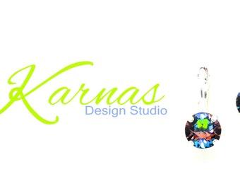 GREEN SPHINX 8mm Crystal Chaton Leverback Drop Earrings Swarovski Elements *Pick Your Finish *Karnas Design Studio *Free Shipping*