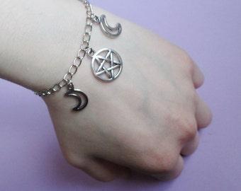 moon pentagram bracelet, pastel goth, grunge, pagan jewelry, wiccan jewelry