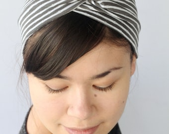 Gray Striped Headband, Stretchy Turban twist.