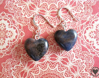 Koa - silver plated earrings with denim blue colored sodalite stone heart - All donated to animal charity