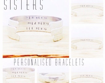 Sisters Gift | Big Sis | Mid Sis | Lil Sis | Personalised Sister Bracelets | Personalised Jewelry | Set of 3 | Sisters Jewelry (C092)