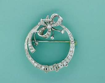 14K White Gold Circle Bow Brooch with Diamonds